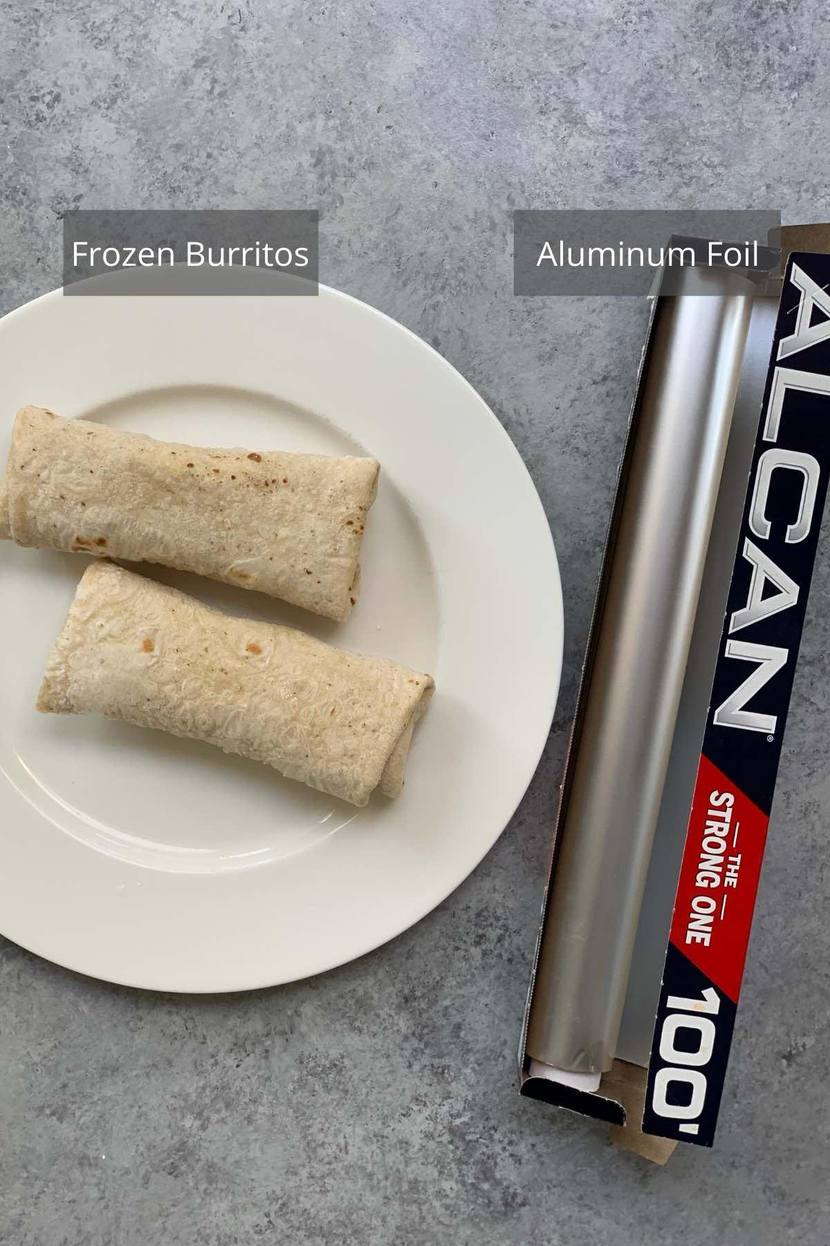 Air Fryer Frozen Burritos ingredients on the counter.