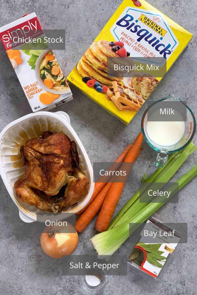 Bisquick Dumplings ingredients on the counter.