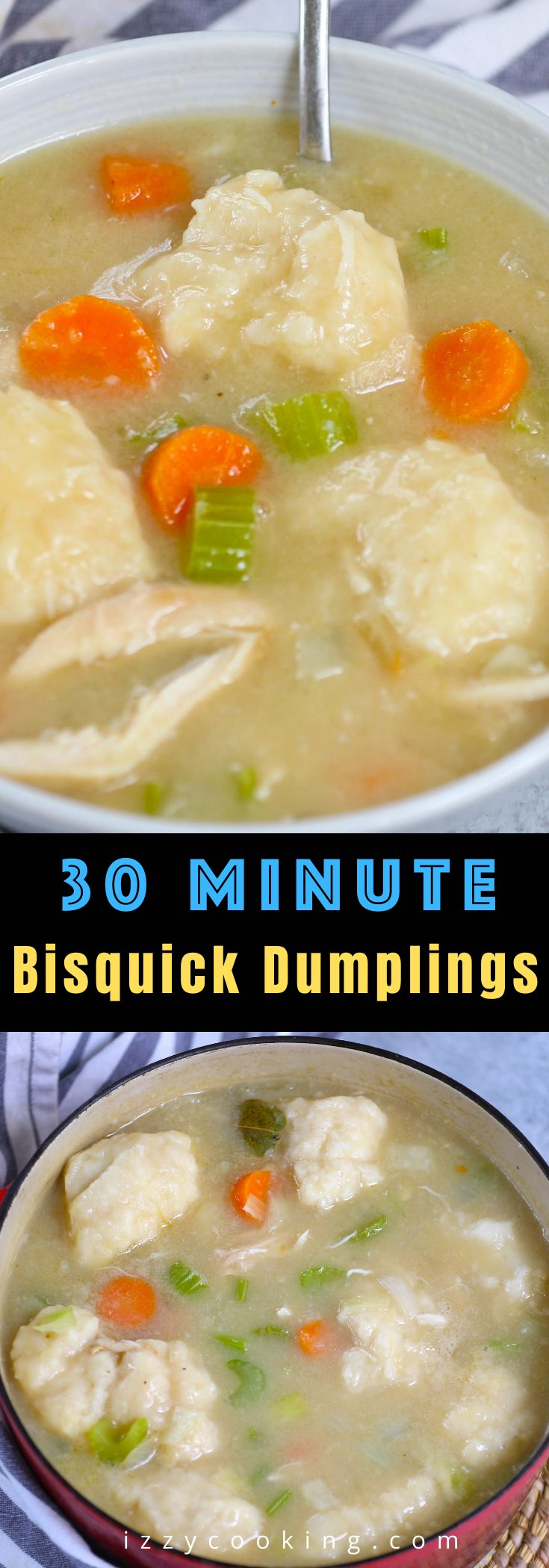 There's nothing quite as comforting as a warm, savory bowl of homemade Bisquick Chicken and Dumplings. Made with Original Bisquick mix, these hearty Bisquick Dumplings are super easy to make in a Dutch oven or slow cooker. You can boil the chicken from scratch or use rotisserie chicken for a quick dinner recipe.
