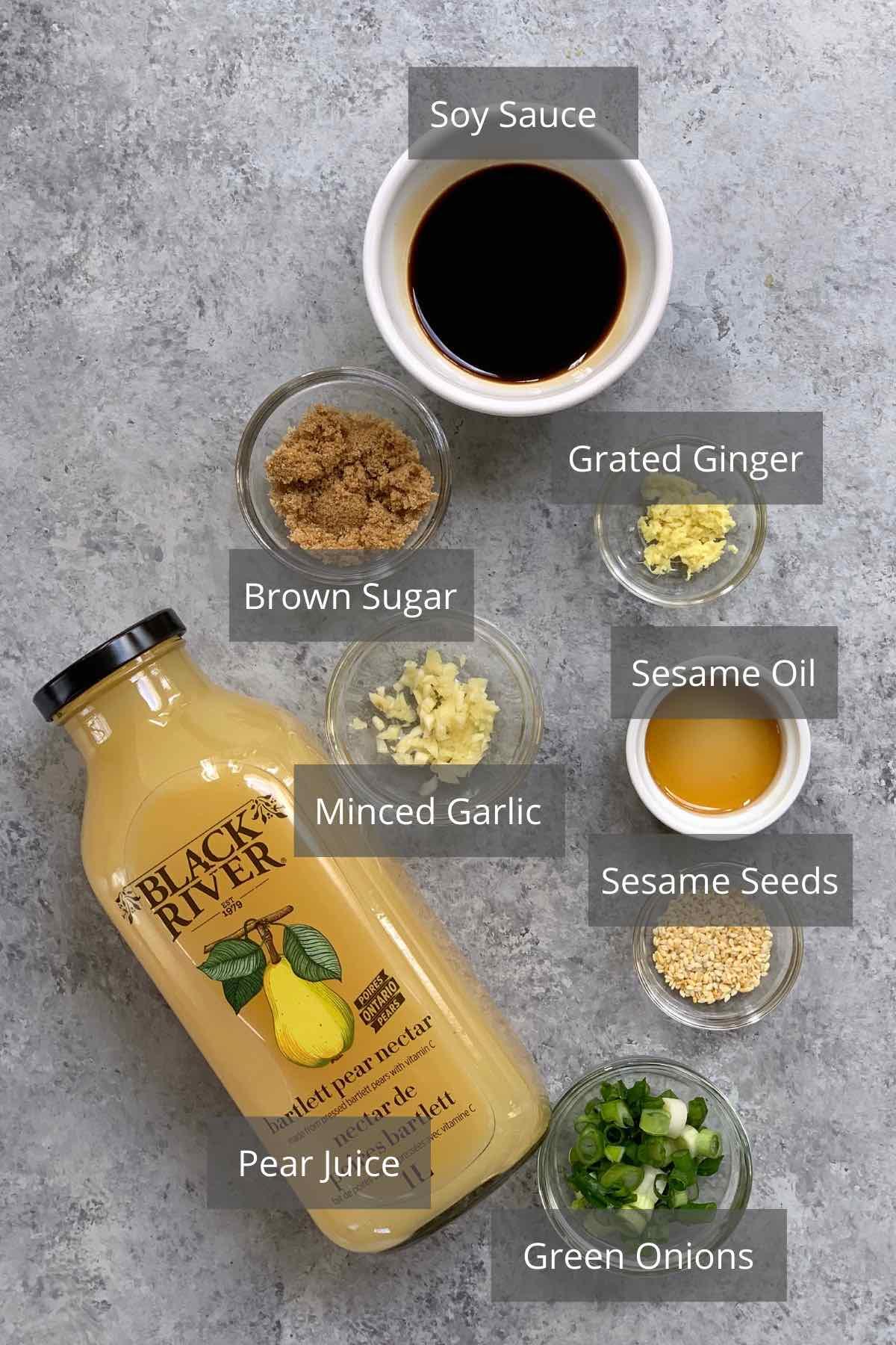 Bulgogi Sauce ingredients on the counter.