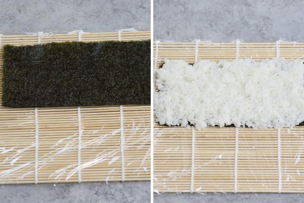 Crunchy Roll Sushi recipe: spreading rice on top of the nori sheet.