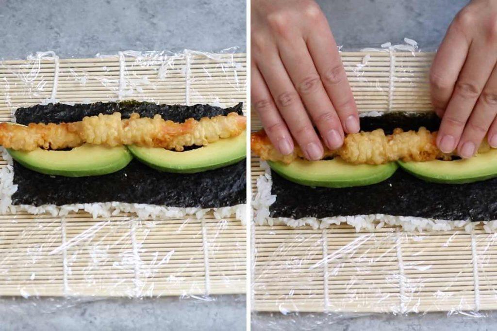 Crunchy Roll Sushi recipe: adding shrimp tempura and avocado