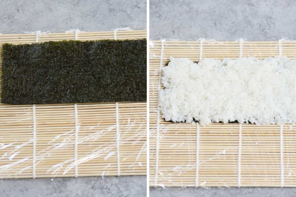 Dragon Roll recipe step 2: placing half of the nori sheet onto the bamboo mat and spread the rice on top.