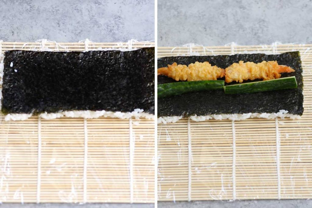 Dragon roll recipe step 2: flip and let the rice face down. Add shrimp and cucumber.