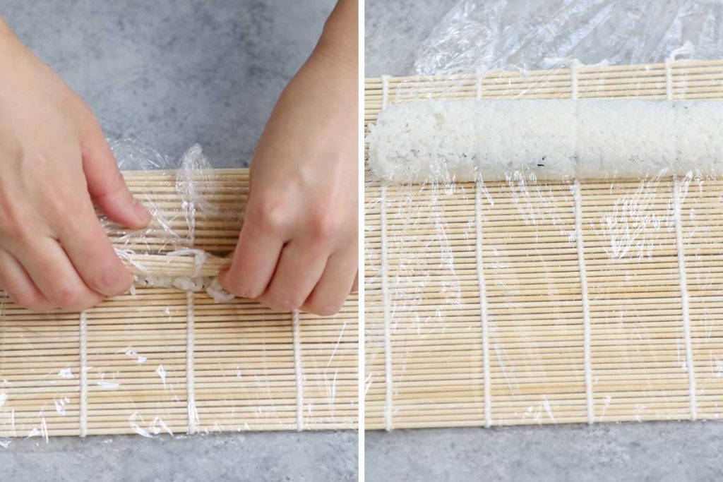 Dragon roll recipe step 2: rolling the sushi.