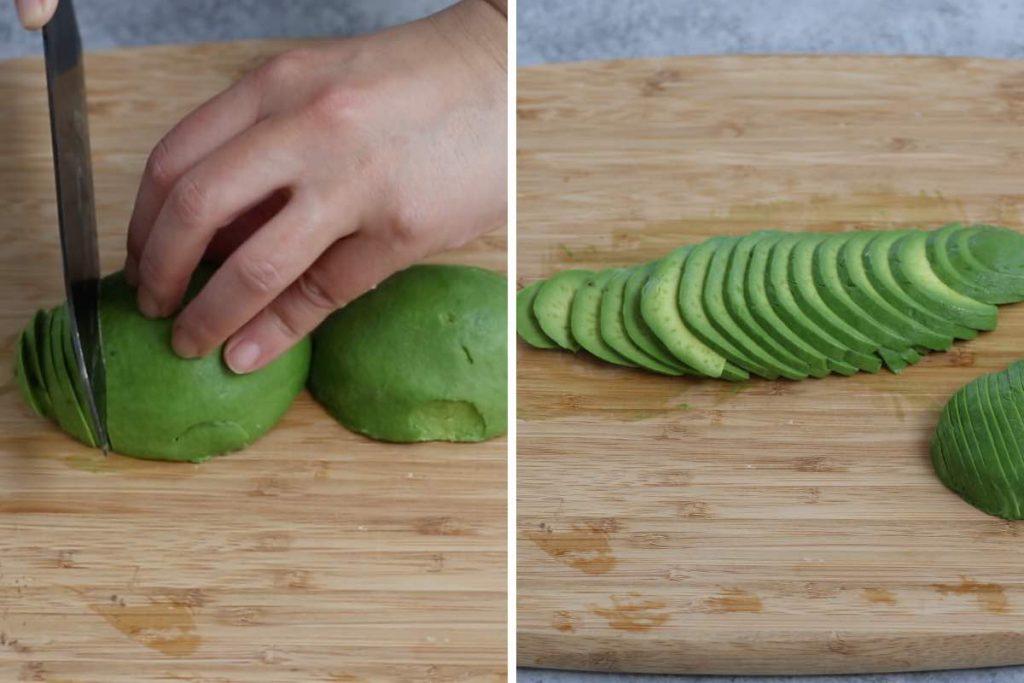 Dragon Roll recipe step 3: making avocado topping.