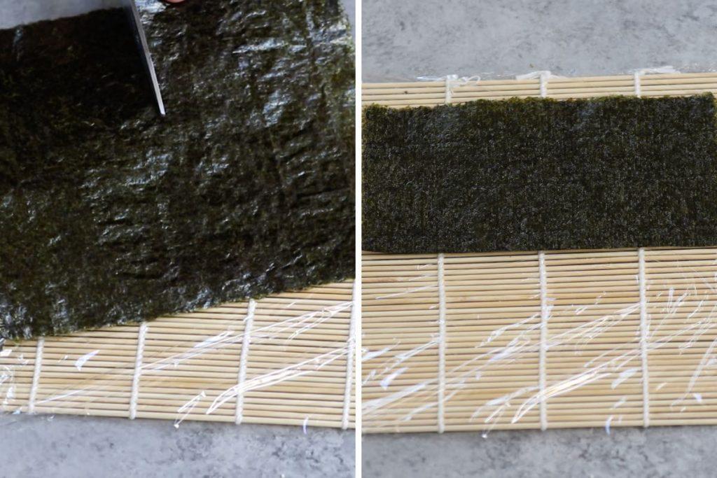 Rainbow Roll recipe: cutting nori sheet and placing half onto the sushi mat.