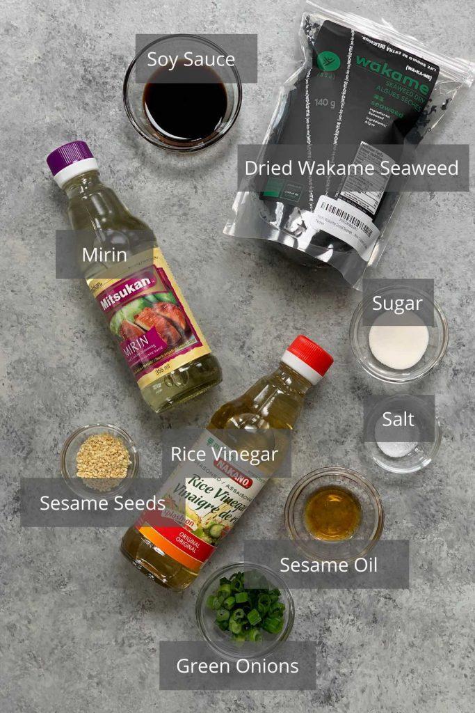 Seaweed salad ingredients on the counter.