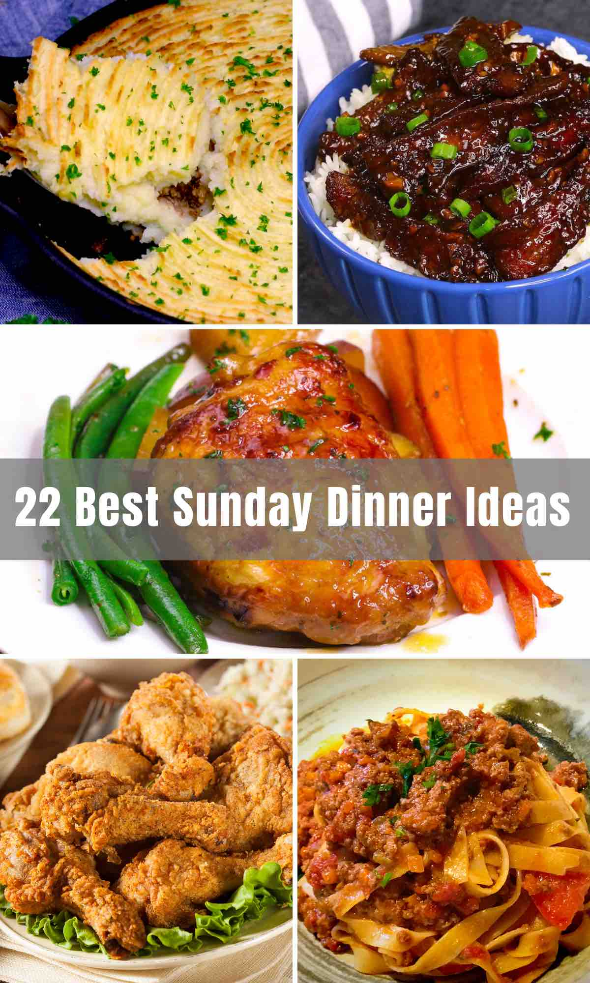 We've rounded up 22 best Sunday Dinner Ideas for the family to gather around the table and have some quality time. Whether you're looking for a lazy dinner recipe, easy supper ideas, Southern Sunday meals, or comforting crowd-pleasers, we've got you covered. Beef, chicken, and fish will all be featured!