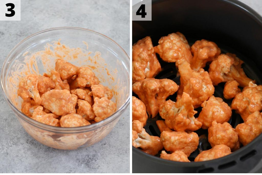 Air Fryer Buffalo Cauliflower recipe: step 3 and 4 photos.