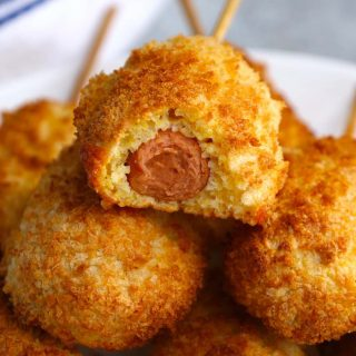 Crispy and crunchy air fryer corn dogs are one of the best dinner ideas for kids. Corn dogs are made from scratch without deep-frying. Great for kids and adults alike!