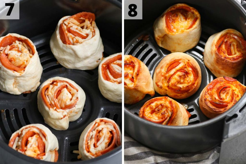 Air Fryer Pizza Rolls Recipe: Step 7 and 8 photos.