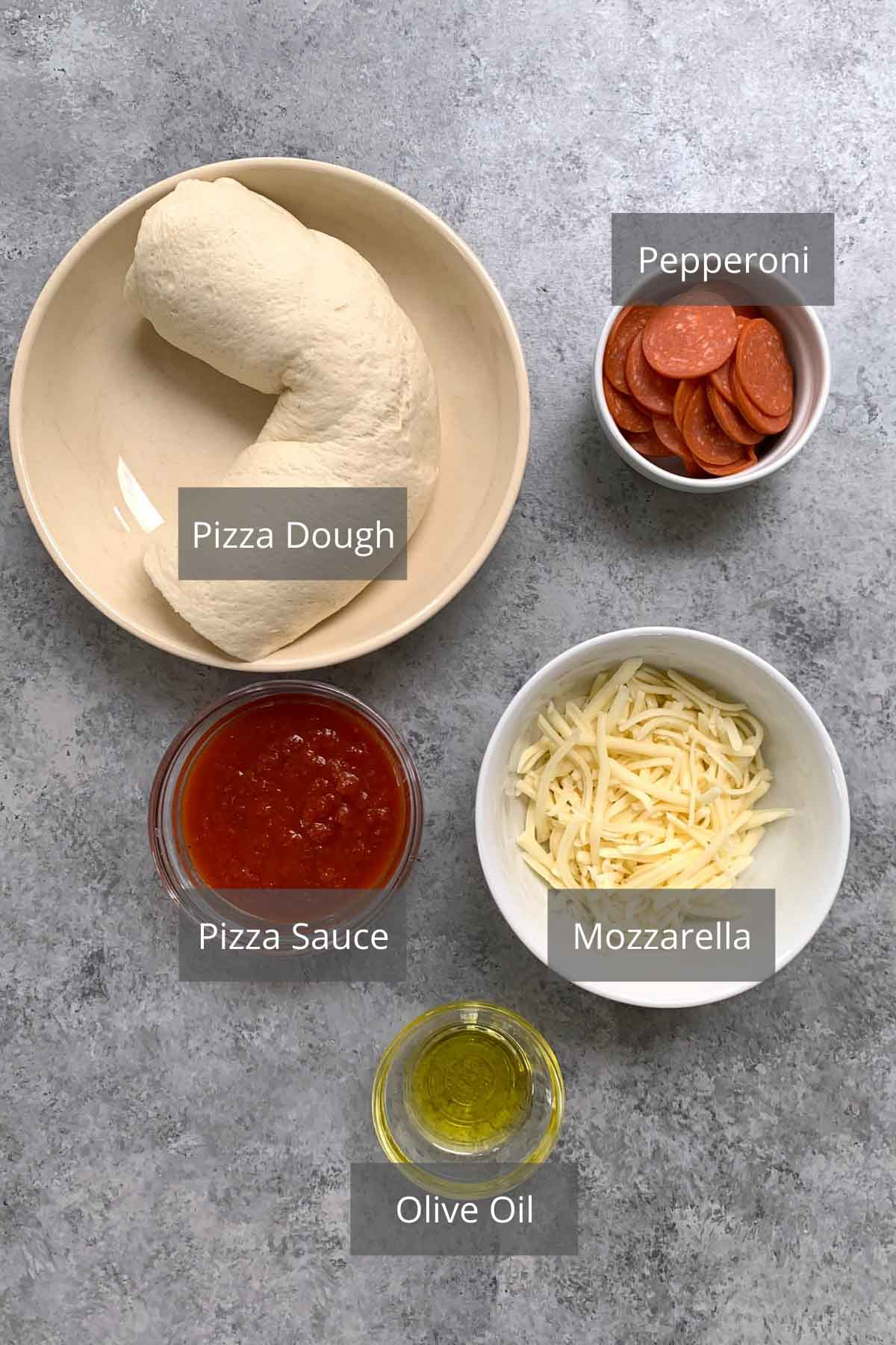 Air Fryer Pizza Rolls ingredients on the counter.