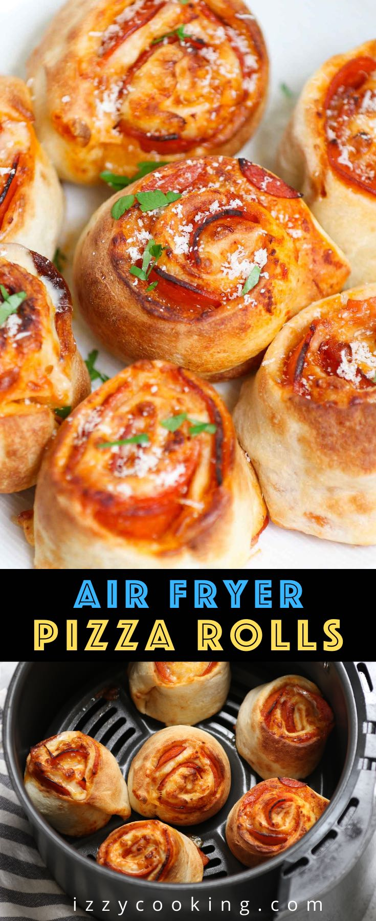 These Air Fryer Pizza Rolls have delicious pepperoni and mozzarella cheese packed in pizza pockets – an instant crowd-pleaser great for appetizer or snack. You can easily make these bite-sized mini pizzas at home from scratch in under 10 minutes. We've also included instructions on how to air fry frozen pizza puffs straight from the freezer.