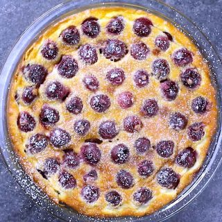 Clafoutis is a classic French dessert that is pleasing to both the eyes and taste buds. Sweet, fresh cherries are baked in a simple batter of milk, sugar, eggs and flour. The result is a fruity, creamy dessert with a taste similar to custard. You can easily customize this recipe with other fruits like blueberry, raspberry, or apple.