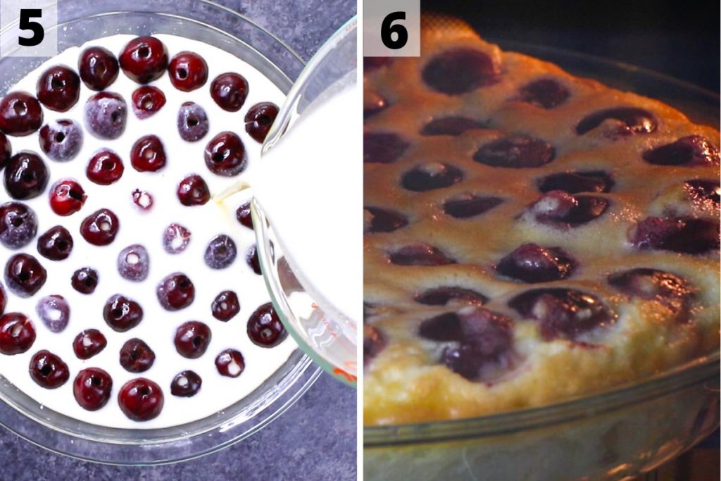 Clafoutis recipe: step 5 and 6 photos.