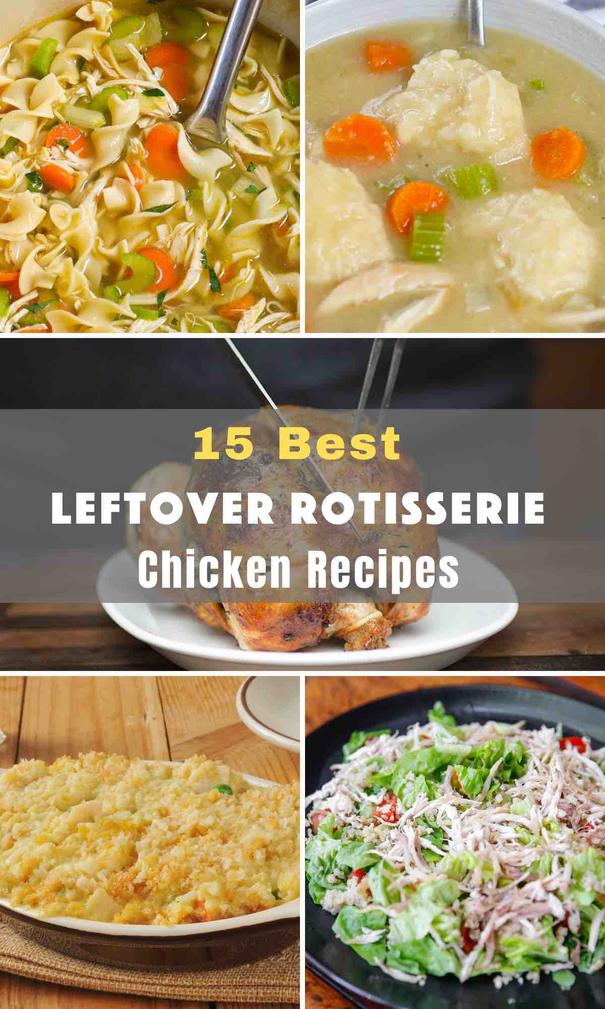 Wondering what to do with the leftover rotisserie bird? These 15 Best Leftover Rotisserie Chicken Recipes will turn the boring leftover chicken into a new delightful dinner! From Casseroles to pasta, soups and sandwiches, let your imagination wonder when it comes to leftover chicken recipes.
