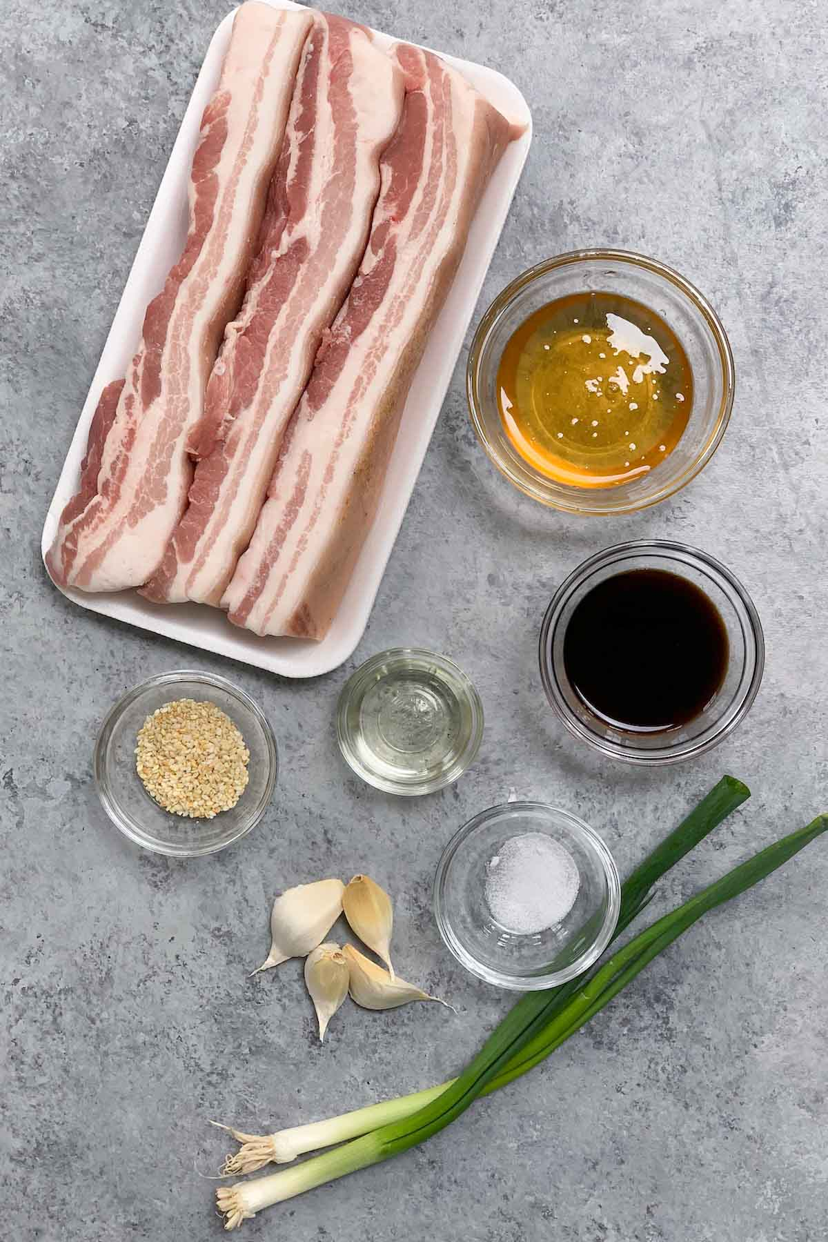 Sous Vide Pork Belly ingredients on the counter.