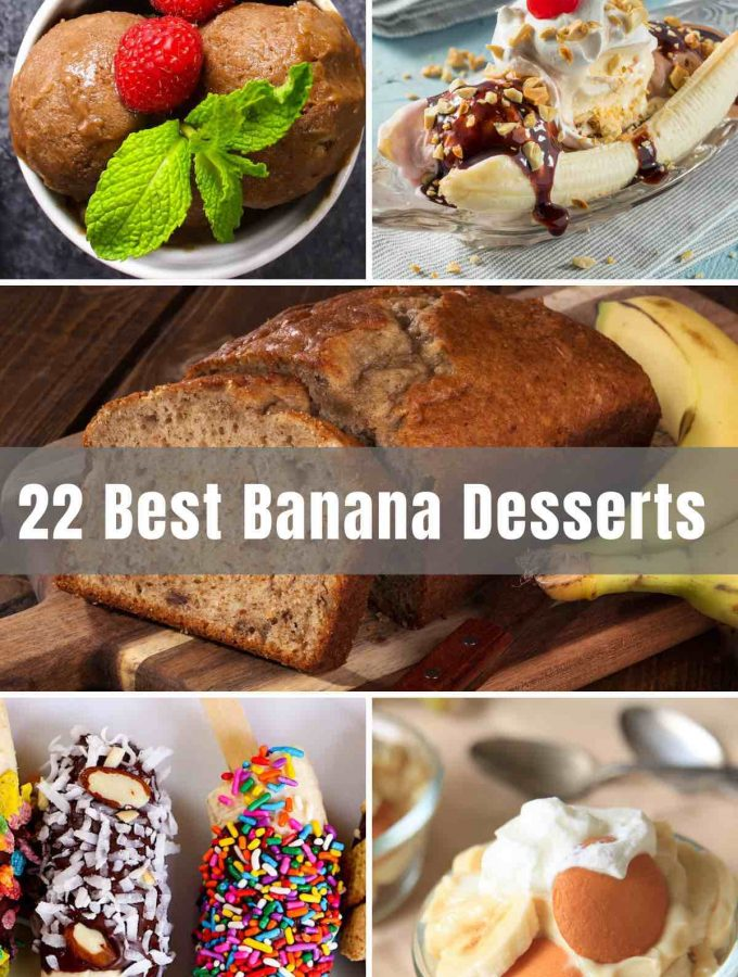 Just saying the words 'Banana Bread' brings comfort to my soul. Besides this most popular banana dessert, there are plenty of other ways we love to make the most out of this delicious fruit. Ever tried a fried banana? Well, you're about to! From banana pudding to banana muffins and pancakes, to monkey bars, and of course the classic banana split - there are 22 Best Banana Desserts all waiting for you below.