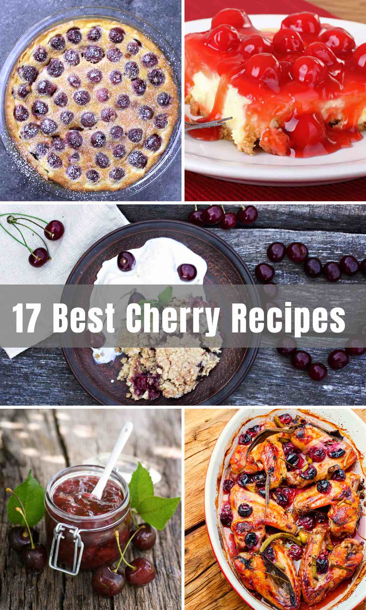 There's nothing like a summer dessert featuring fresh and sweet-tart cherries. We've gathered the 17 Best Cherry Recipes to satisfy every craving. Want a show-stopping cherry dessert for a party? Try our Cherry Pie and Cherry Clafoutis. Feel like a healthy treat? Try Cherry Crisp. Looking for something savory? We've got delicious Oven Roasted Cherry Chicken. Cannot wait until cherry season? You'll find some amazing recipes with canned cherries too!