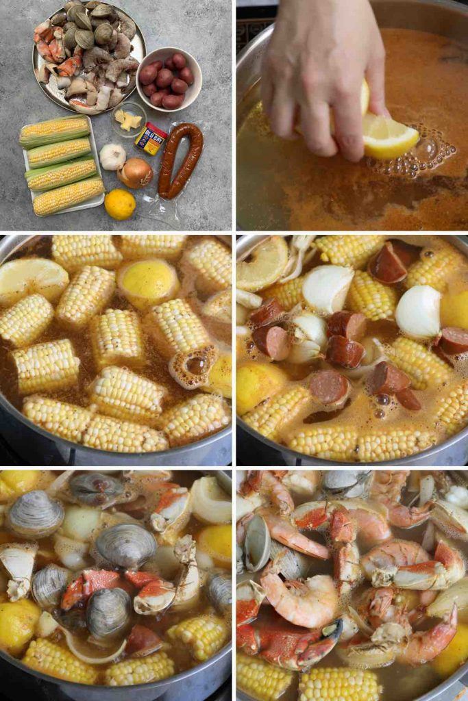 Photo collage showing how to make seafood boil.