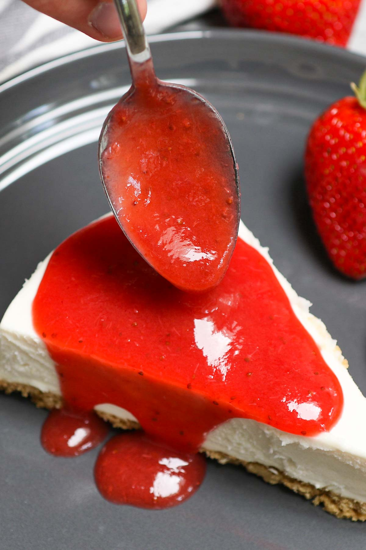 Whether you're baking a pie, cheesecake, or homemade donuts, there's nothing quite like a tasty Strawberry Glaze to add a sweet finishing touch. This strawberry sauce is made from scratch with real, juicy strawberries