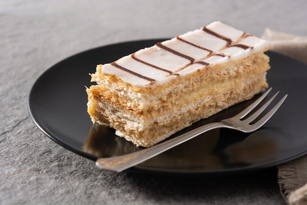 Step 4 photo showing assembled Napoleon dessert.