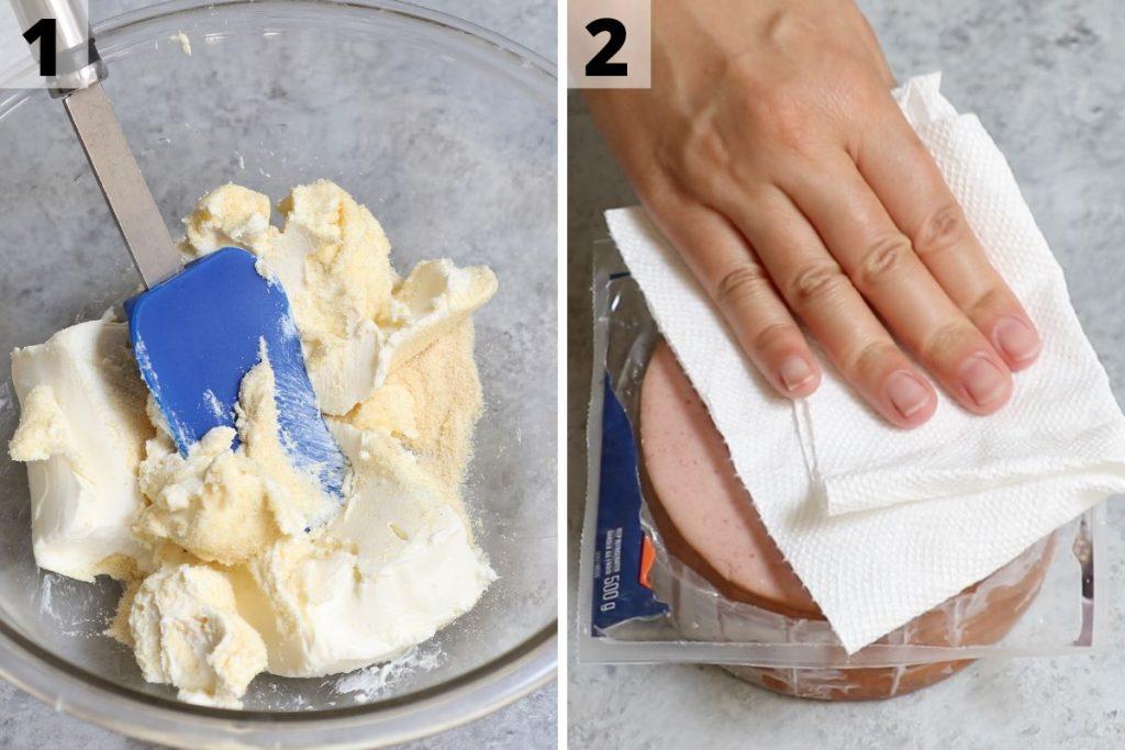 Bologna Cake Recipe step 1 and 2 photos.