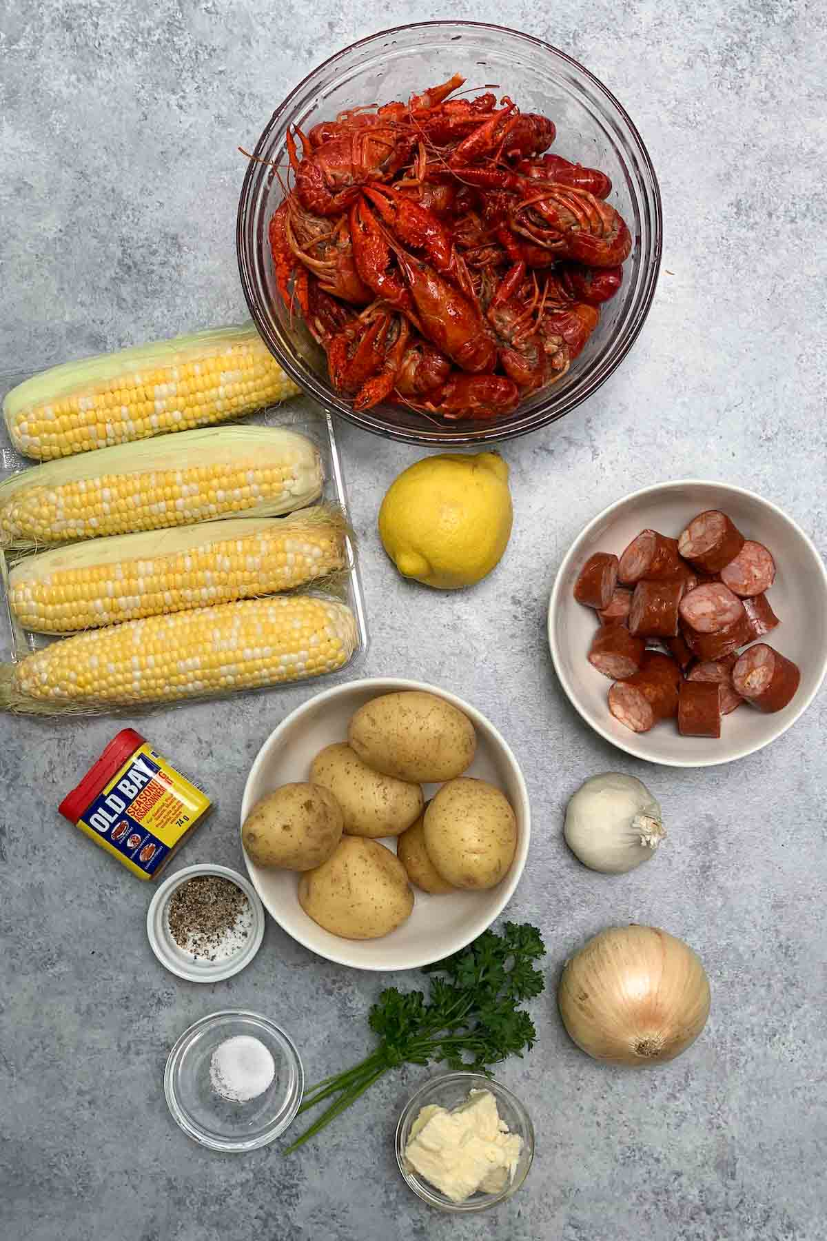 Crawfish Boil ingredients on the counter.