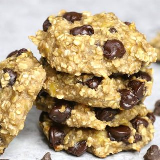 These healthy Banana Oatmeal Cookies are made with only 3 ingredients: banana, oats, and chocolate chips. This recipe is so easy to make and is one of our favorite healthy cookie recipes.