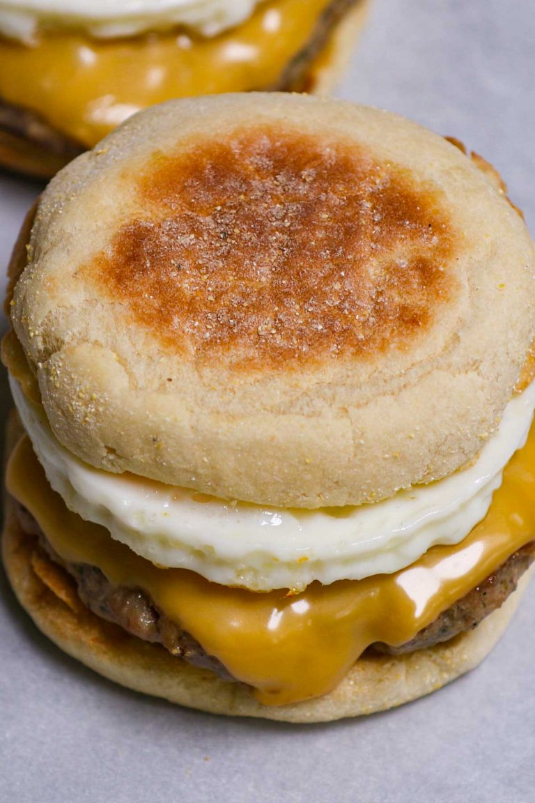 It's the simple, yet satisfying breakfast sandwich you know and love! The Sausage Egg McMuffin features a fluffy English muffin, seasoned sausage, melted American cheese, and eggs done your way. There's no need to head out to McDonald's. This copycat recipe makes it so easy to recreate your own sausage McMuffin at home.