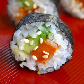 Sweet Potato Sushi Rolls are one of my favorite cooked sushi recipes. They're sweet, savory, and creamy. So delicious!