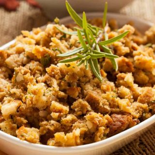 Stovetop sausage stuffing is so easy to make with a box of stuffing. It calls for only 5 ingredients and is one of our favorite stove top stuffing recipes.