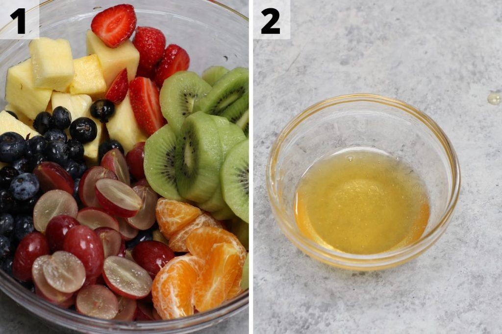 Fruit Cocktail Recipe process 1 and 2 photos.