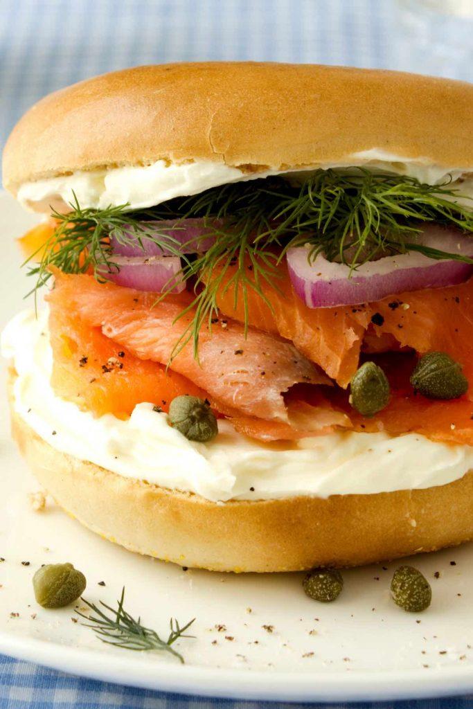 Smoked Salmon Breakfast Bagel with Cream Cheese-